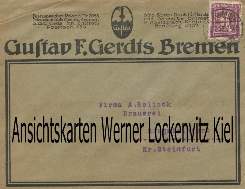 Bremen Firma Gustav F. Gerdts Gestra Armaturen und Regelungstechnik Geschäftsbrief