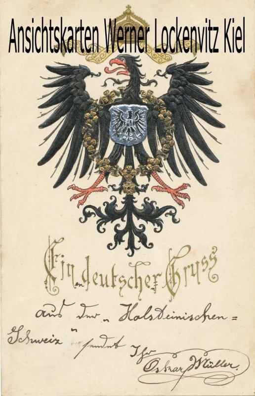 Ansichtskarte Ein deutscher Gruss Wappen Brustschild Adler Prägedruck