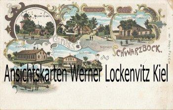 Ansichtskarte Gruss aus Schwarzbock Schulhaus Gasthaus Lenckersdorf Litho