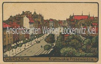 Ansichtskarte Polen Warschau Warszawa Krakowskie Przedmiescie Künstler-Stein-Zeichnung