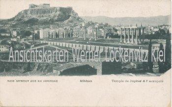 Ansichtskarte Griechenland Ελλάδα Athen Temple de Jupiter et Acropolis