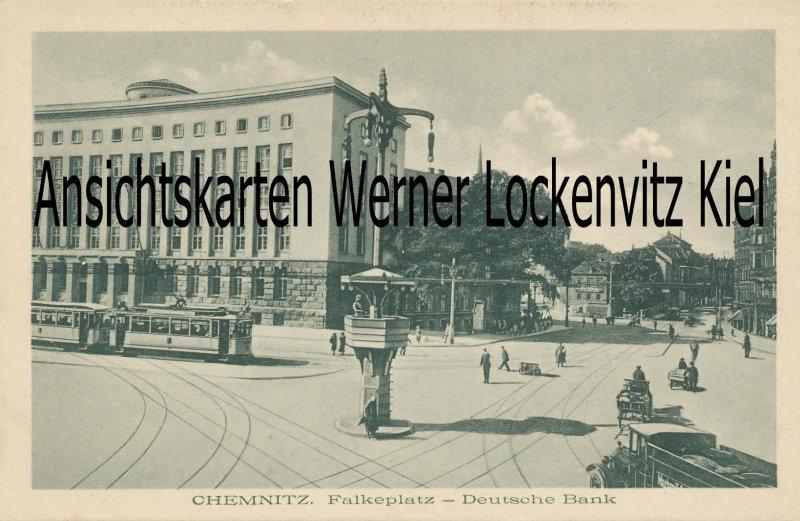 Ansichtskarte Chemnitz Falkeplatz Deutsche Bank und Straßenbahn