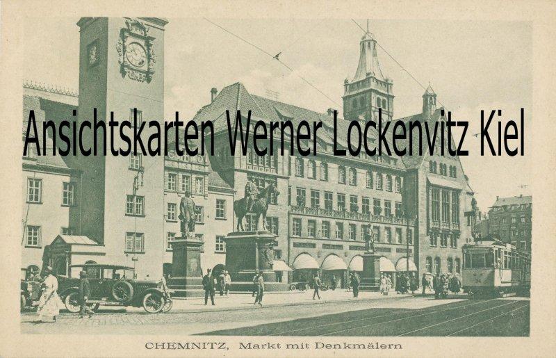 Ansichtskarte Chemnitz Markt mit Straßenbahn