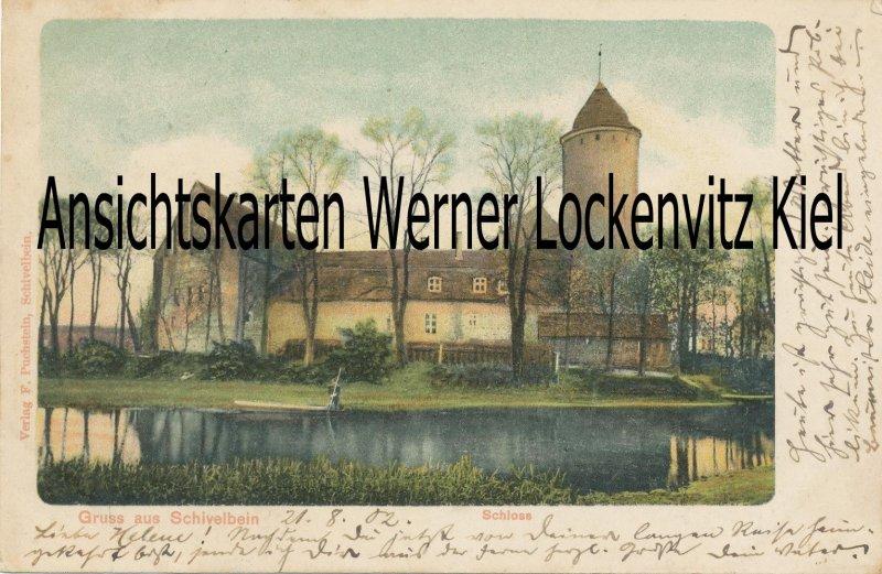 Ansichtskarte Polen Schivelbein Świdwin Schloss Bahnpost