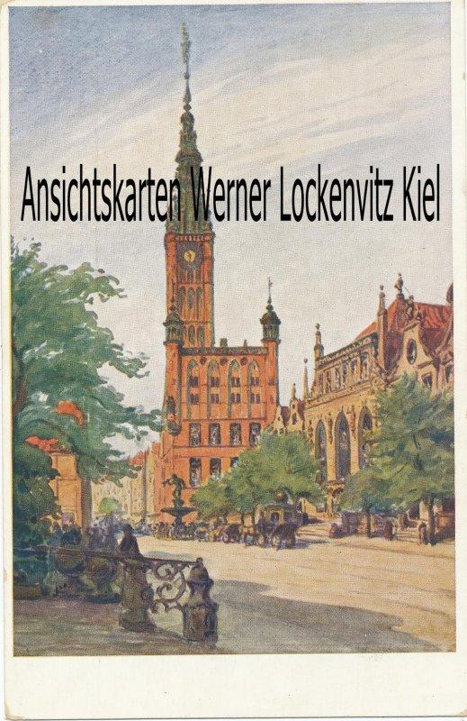 Ansichtskarte Polen Pommern Danzig Gdańsk Langer Markt Gemälde von Berth. Hellingrath