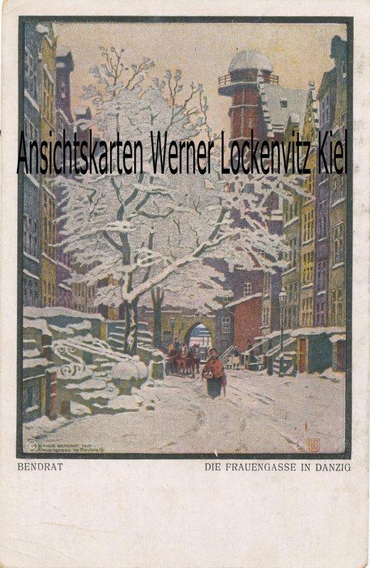 Ansichtskarte Danzig Gdansk Die Frauengasse Gemälde von Arthur Bendrat