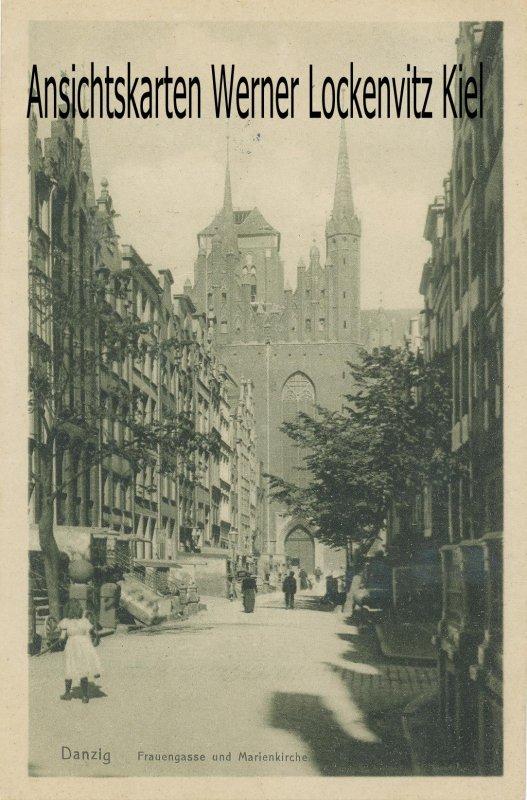 Ansichtskarte Frauengasse und Marienkirche in Danzig Gdansk