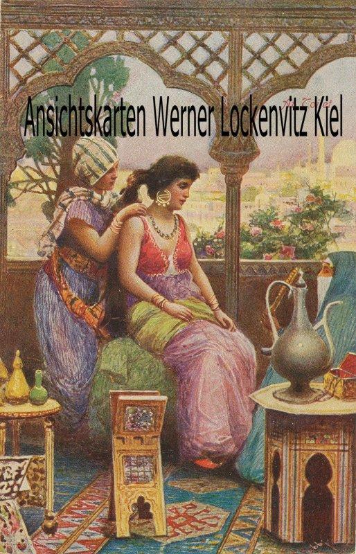 Ansichtskarte Orient Frau bei der Toilette
