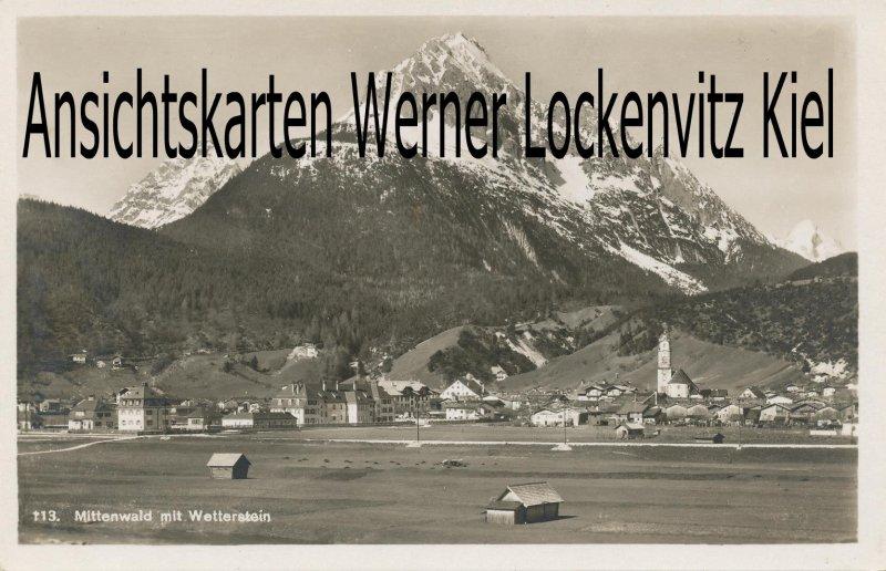 Ansichtskarte Ortsansicht mit Wetterstein von Mittenwald