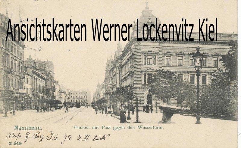 Ansichtskarte Mannheim Planken mit Postgegen den Wasserturm
