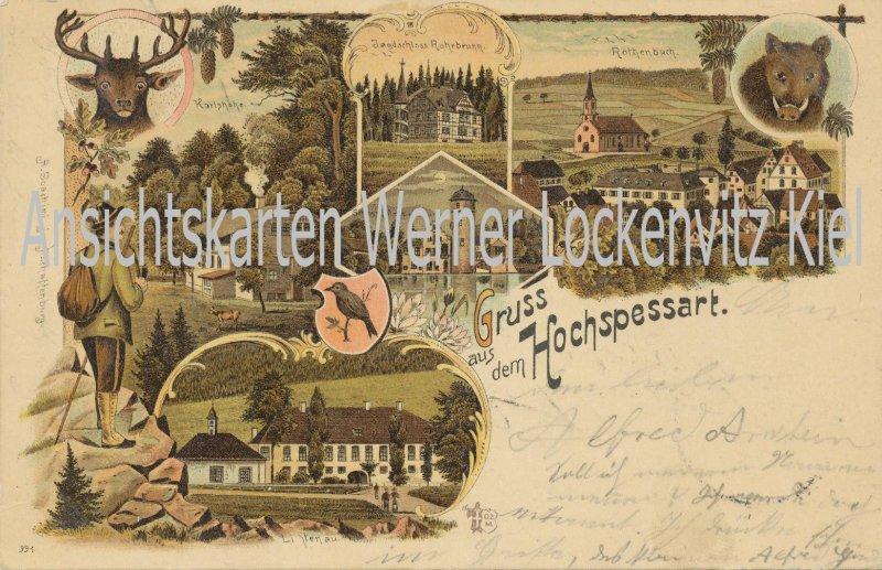 Ansichtskarte Gruss vom Hochspessart Karlshöhe Rothenbuch Litho Jagd