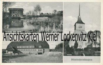 Ansichtskarte Dänischenhagen Neue Schule Partie am Mühlenteich