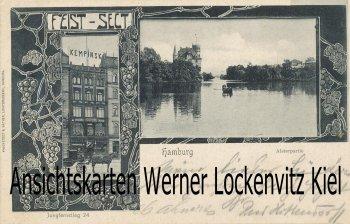 Ansichtskarte Hamburg Jungfernstieg 24 Restaurant Kempinski Feist Sekt Alsterpartie