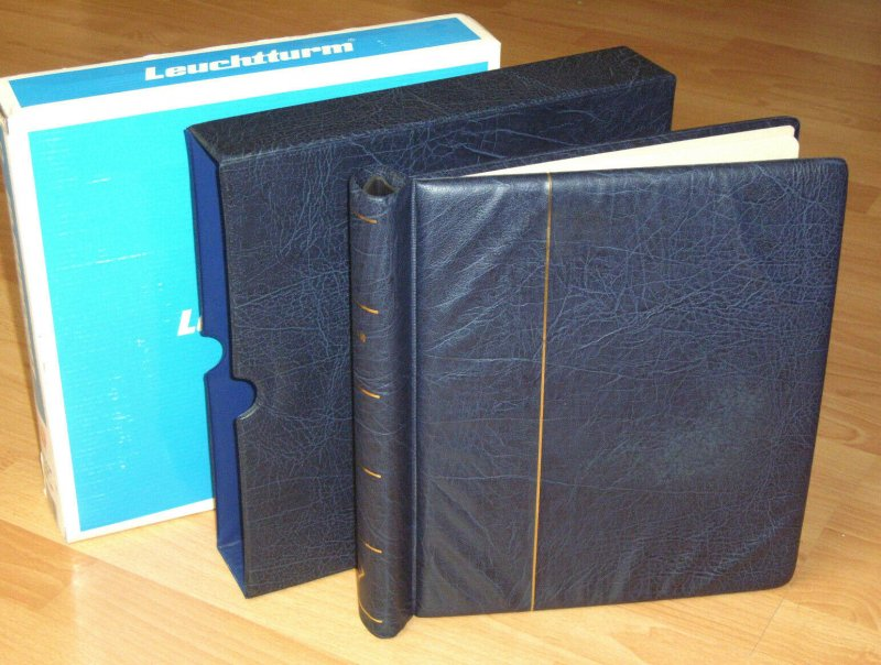 Leuchtturm Vordruckalbum Luxus mit Schuber blau