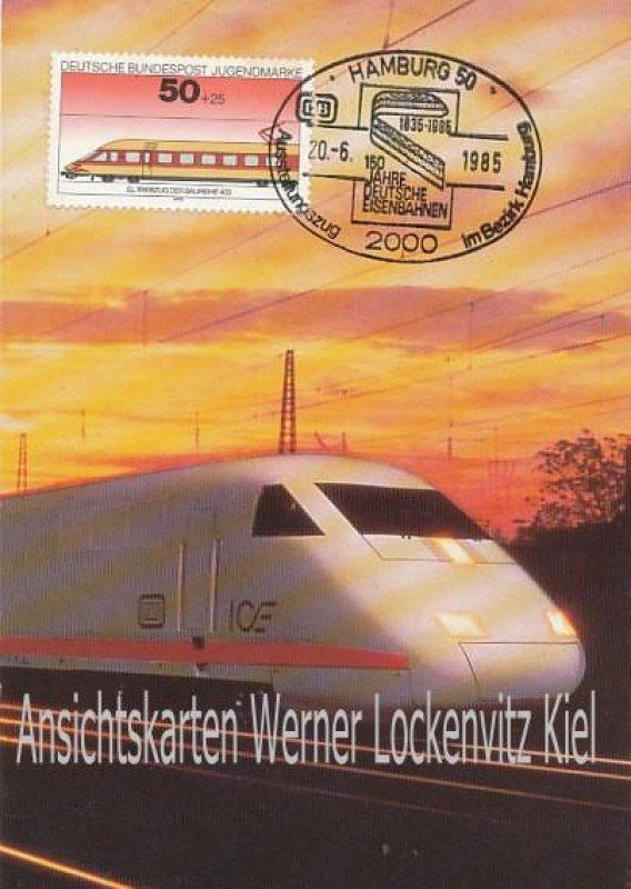 Ansichtskarte Hamburg Sonderstempel 150 Jahre Deutsche Eisenbahn ICE