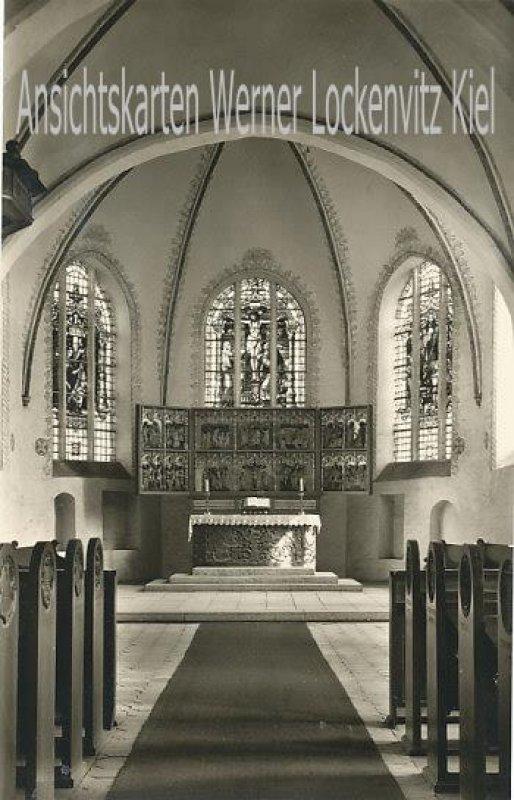 Ansichtskarte St. Nicolai-Kirche Altarraum in Burg auf Fehmarn