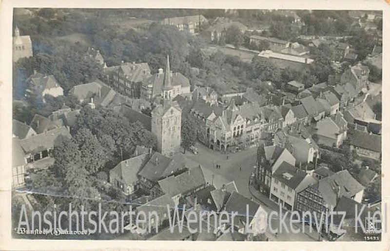 Ansichtskarte Wunstorf Ortsansicht mit Kirche Luftbild