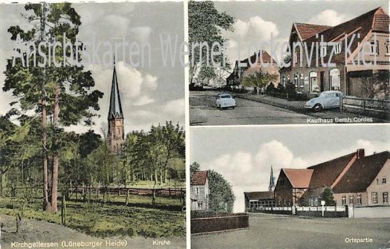 Ansichtskarte Kirchgellersen Kaufhaus von Bernh. Cordes Kirche Ortspartie