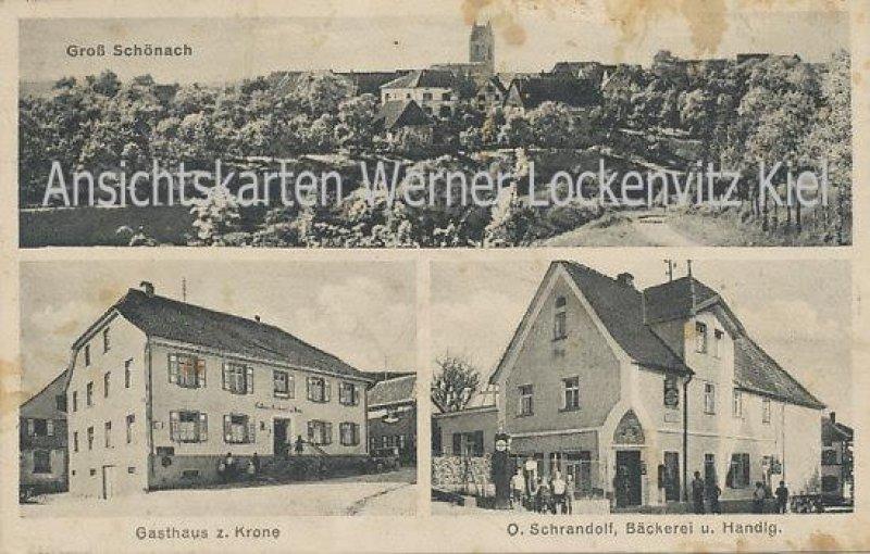 Ansichtskarte Herdwangen-Schönach Gasthaus zur Krone Bäckerei von O. Schrandolf Ortansicht