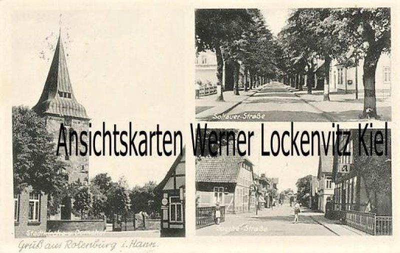 Ansichtskarte Rotenburg Wümme Soltauer Straße und Große Straße Stadtkirche