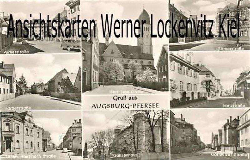 Ansichtskarte Augsburg-Pfersee Metzstraße Körnerstraße