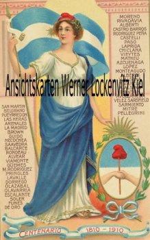 Ansichtskarte tarjeta postal Argentinien Argentina Centenario 1810-1910 Patriotika Flagge Prägedruck