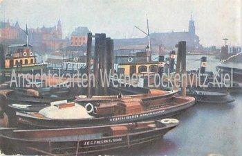 Ansichtskarte Hamburger Hafen mit Westfälisches Kohlen-Kontor und J. E. C. Freerks und Sohn
