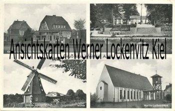 Ansichtskarte Wentorf bei Hamburg Mühle Geschäftshaus von Gerhard Henschel Martin-Luther-Haus