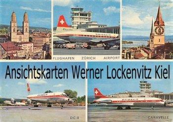 Ansichtskarte Zürich Flughafen DC-8 Caravelle