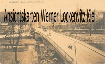Ansichtskarte Roßwein Brücke mit Dresdner Straße
