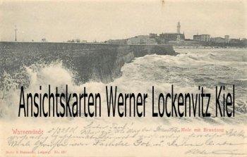 Ansichtskarte Rostock-Warnemünde Mole mit Brandung