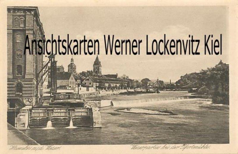 Ansichtskarte Hameln Weserpartie bei der Pfortmühle