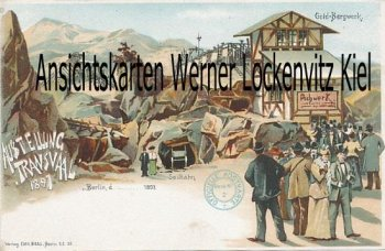 Postcard Germany Berlin exhibition Transvaal gold mine Litho