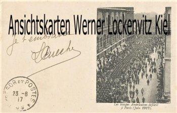 Ansichtskarte Carte Postale Frankreich France USA Les troupes Americaines defilent a Paris 1917