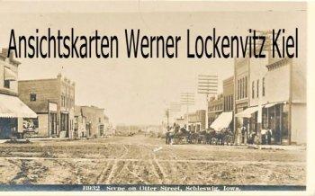 Ansichtskarte USA Scene on Otter Street Schleswig Iowa Real Photo