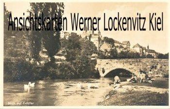 Ansichtskarte Fritzlar Blick auf die Stadt mit spielenden Kindern am Fluß bei der Brücke