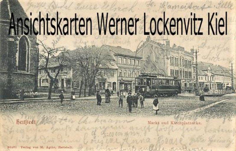 Ansichtskarte Hettstedt Markt und Kirchplatzecke mit Straßenbahn