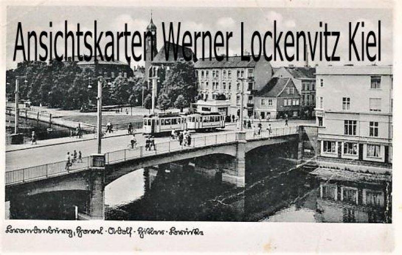 Ansichtskarte Brandenburg an der Havel Adolf-Hitler-Brücke mit Straßenbahn