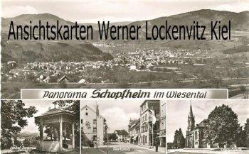Ansichtskarte Schopfheim im Wiesenthal Marktplatz Evang. Kirche Ortsansicht