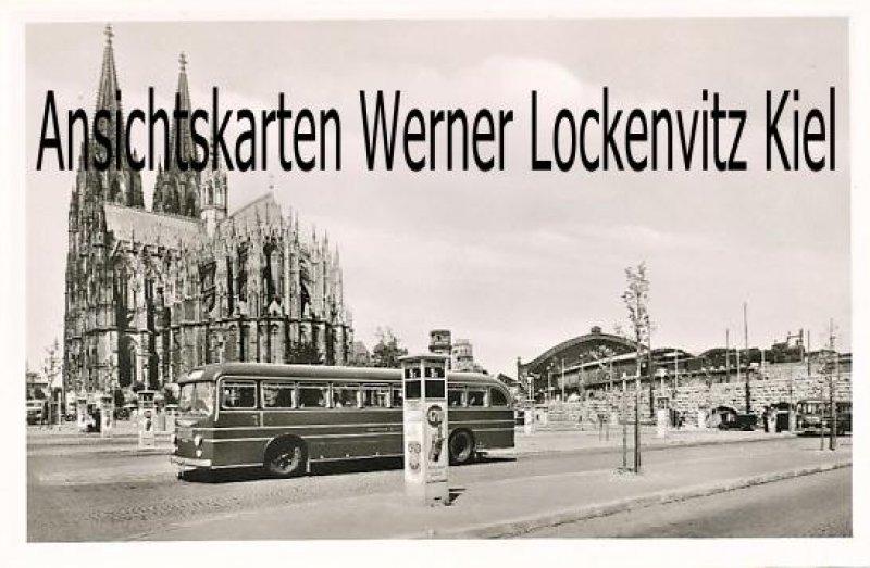 Ansichtskarte Köln am Rhein Dom mit Bus