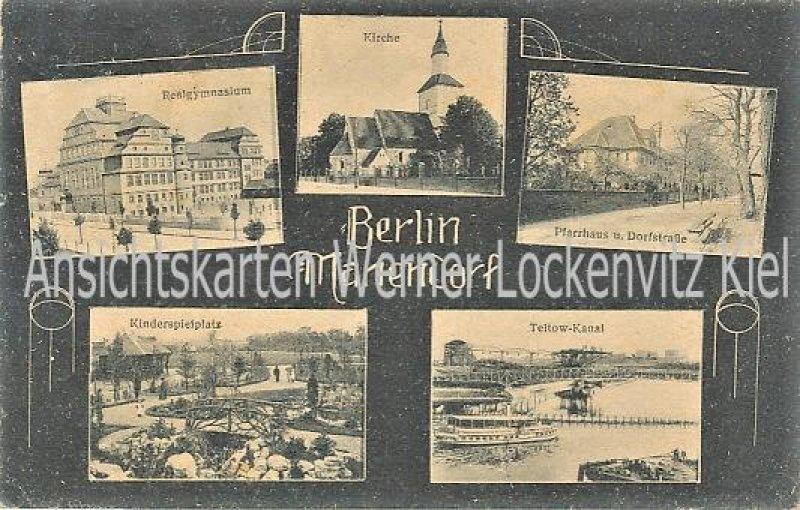 Ansichtskarte Berlin-Mariendorf Realgymnasium Kinderspielplatz Pfarrhaus und Dorfstraße