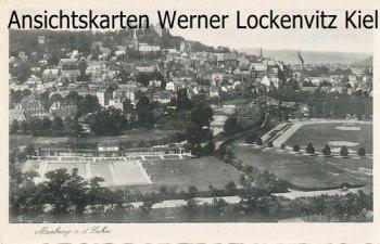 Ansichtskarte Marburg Ortsansicht mit Sportplatz und Freibad