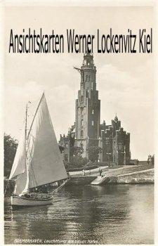 Ansichtskarte Bremerhaven Leuchtturm am neuen Hafen mit Segelboot