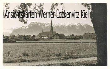 Ansichtskarte Freilassing Blick zum Untersberg mit Kirche