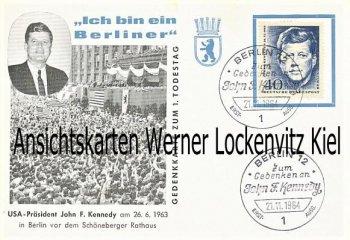 Berlin Besuch des Präsidenten der USA John F. Kennedy Gedenkkarte Sonderstempel