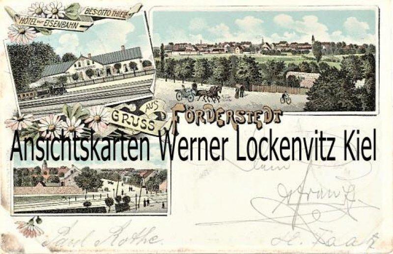 Ansichtskarte Staßfurt-Förderstedt Hotel zur Eisenbahn Bes. Otto Thiele Ortsansichten Litho