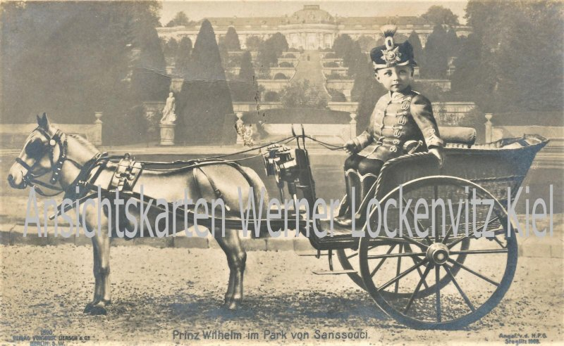 Ansichtskarte Prinz Wilhelm in Husaren-Uniformim im Park von Sanssouci