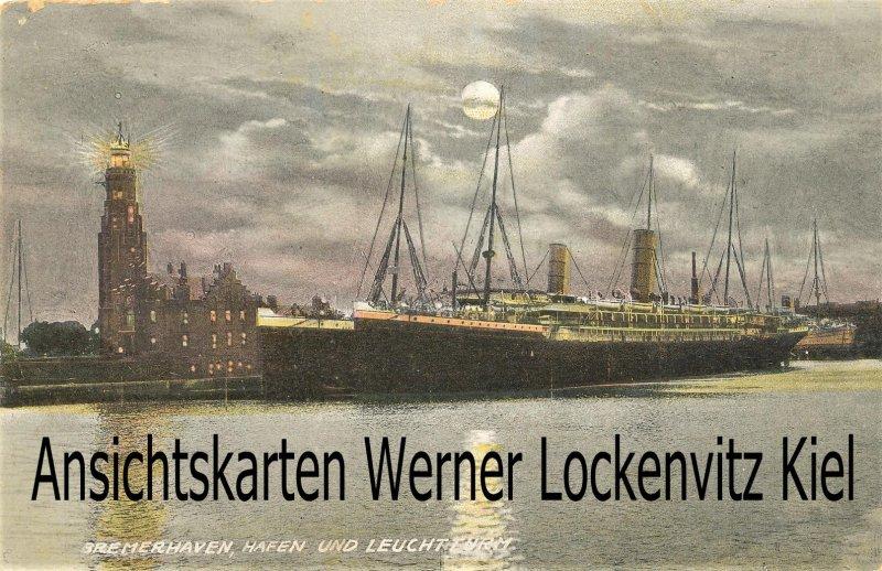 Ansichtskarte Bremerhaven Hafen und Leuchtturm Mondscheinkarte