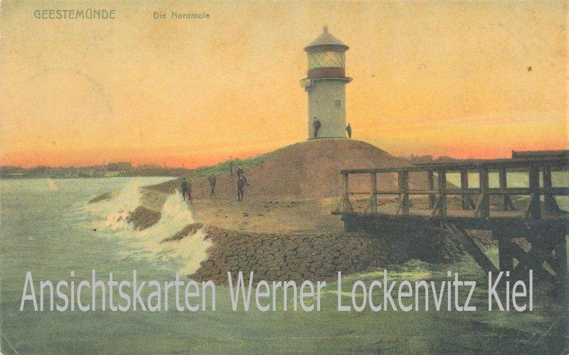 Ansichtskarte Bremerhaven Geestemünde Die Nordmole mit Leuchtturm