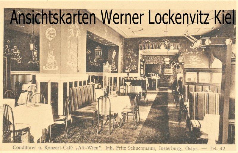 Ansichtskarte Insterburg Черняховск Conditorei und Konzert-Cafe Alt-Wien Inh. Fritz Schuchmann Innenansicht